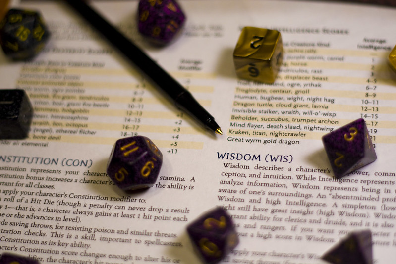 Dice on the Player's Handbook