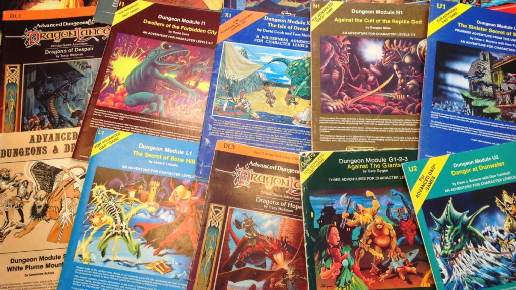 A photo of classic D&D modules