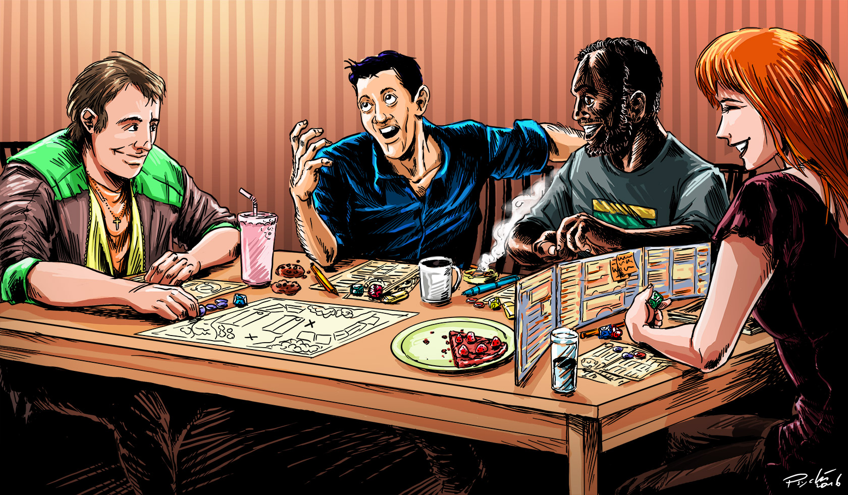 Cartoon Picture of People Playing D&D