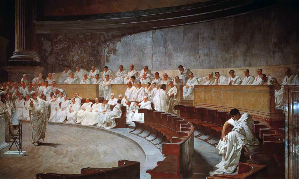 The Roman senate in session.